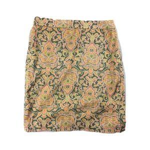 J Crew Pencil Skirt Sz 6 Cotton stretch paisley